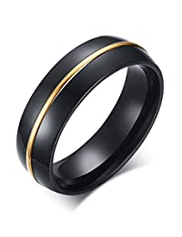 Vnox 6mm Men's Stainless Steel Black Plated Comfort Fit Engagement Band Ring with One Line Gold