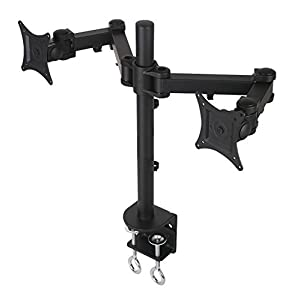 "Heavy Duty Dual Monitor Desk Mount Fully Adjustable fits 2 Screens up to 27"" - VESA Mount"