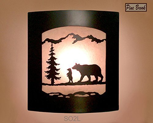 Wall Sconce Rustic Bear Light, Cabin Decor Lamp, Pine Tree, Left Facing
