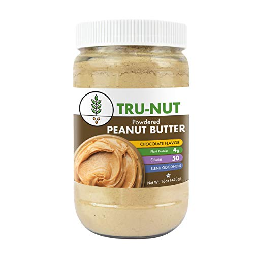 Tru-Nut Powdered Peanut Butter (38 servings, 16oz jar) Good Source of Plant Protein - Gluten Free, Non-GMO, Vegan - Chocolate - Ct 0.5 Chocolate