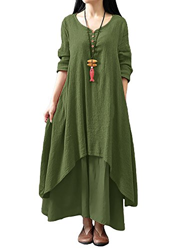 Romacci Women Boho Dress Casual Irregular Maxi Dresses Layer Vintage Loose Long Sleeve Linen Dress with Pockets,XX-Large,Army Green