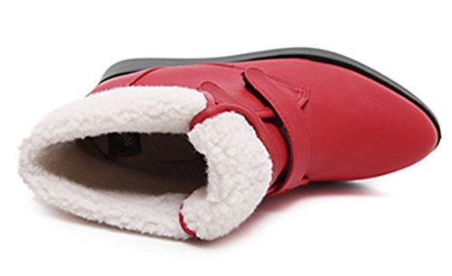 Idifu Mujeres Fashion Fleece Forrado De Cuña Alta Heels AuHombrestar Velcro Tobillo Snow Botas Botines De Invierno Rojo