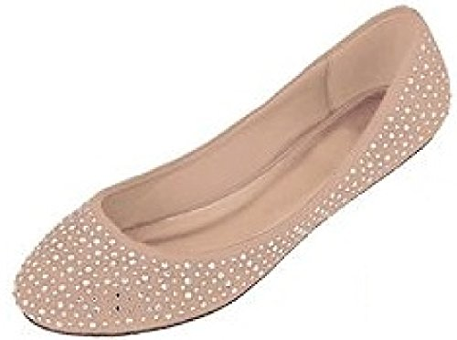 Womens Faux Suede Rhinestone Ballerina Ballet Flats Shoes 5 Colors (9/10, 4021 Nude)
