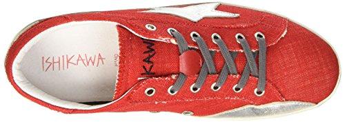 Ishikawa Low 021, Sandalias con Plataforma Unisex Adulto Rojo (Malena Rosso/Foil Scrub Argento)