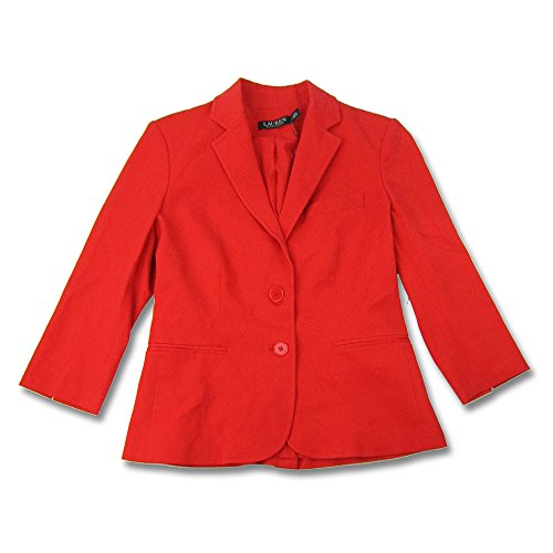 Lauren Ralph Lauren Womens Johannie Twill Lined Two-Button Blazer Red (Ralph Lauren Lined Blazer)