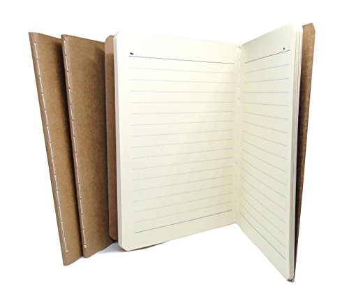 Travel Journal Set With 3 Notebook Journals for Travelers - Lined Page Cream Papers - Kraft Brown Soft Cover - A6 Size - 105 mm x 148 mm - 38 Pages
