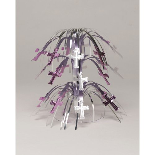 erpiece for Baptism, Christening, Confirmation, Communion- Pink and Silver Cross ()