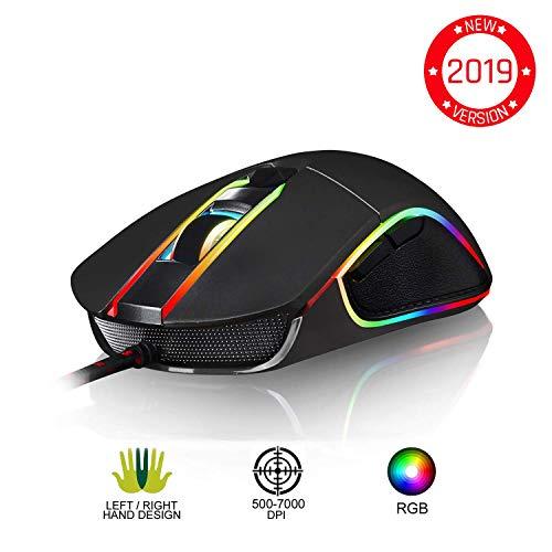 KLIM AIM Gaming Mouse - Wired Ergonomic Gamer USB Computer Mice, Chroma RGB Mouse [7000 DPI] [Programmable Buttons] Ambidextrous, Ergonomic for Desktop PC Laptop, High Precision Optical Laser Black