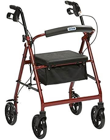 Drive R8 Red Aluminium Rollator with Padded Seat and Vinyl Underseat Bag - UK