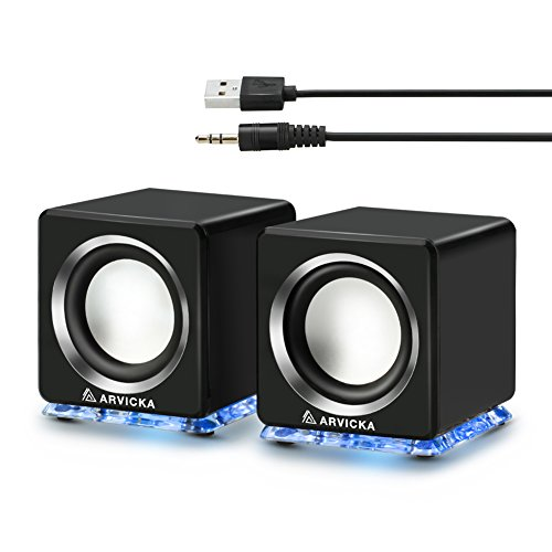ARVICKA Expansive Audio USB Speaker- Blue LED Wired 2.0 Channel Computer Speaker for PC, Black
