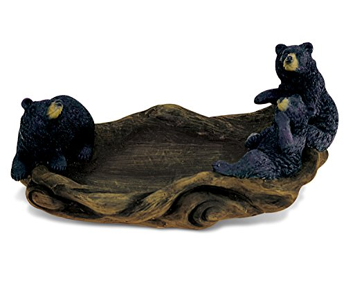 "(CoTa Global Elegant ""Black Bear"" Figure Wild Family Bowl Decor Collection Wildlife Safari Animal Theme Resin Handcrafted Hand-painted Intricate Faux Wood Figurine Home Accent Accessories 3.75 Inch)"