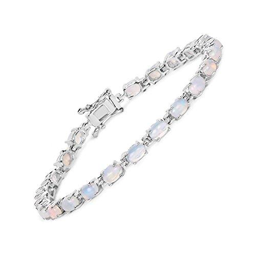 FB Jewels 5.94 Carat Genuine Ethiopian Opal 925 Sterling Silver Bracelet Length 7.50 Inches