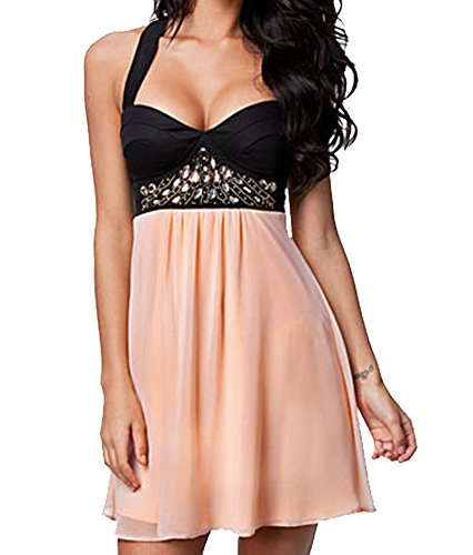 made2envy Chiffon Rhinestone Skater Dress (S Pink) C21486S