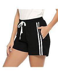 Hawiton Women's 100% Cotton Pajama Pants with Drawstring Lounge PJ Bottoms
