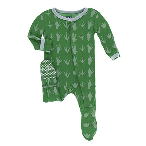 Kickee Pants Little Boys Print Footie with Snaps - Dino Tracks, 0-3 Months