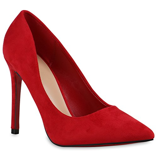 Stiefelparadies Spitze Damen Pumps Stiletto High Heels Metallic Schuhe Lack Absatzschuhe Elegante Abendschuhe Abiball Flandell Rot