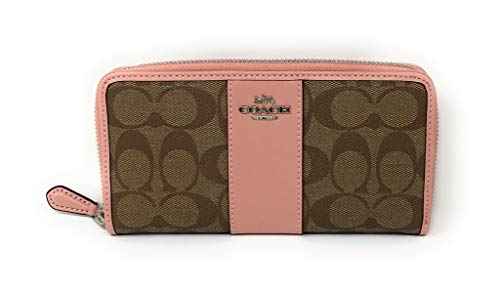 COACH F54630 ACCORDION ZIP WALLET IN SIGNATURE CANVAS KHAKI PETAL
