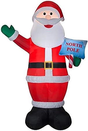Amazon.com: Holiday Living - Papá Noel hinchable con letrero ...