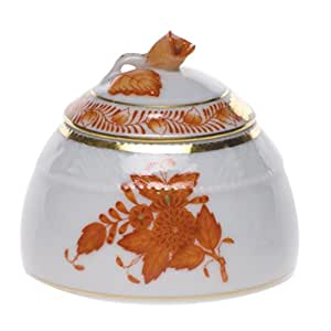 Herend Chinese Bouquet Rust Honey Pot With Rose Lid