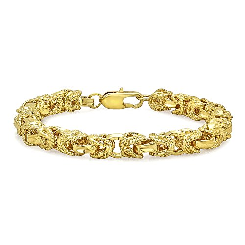 The Bling Factory 8mm Diamond-Cut 0.25 mils (6 microns) 14k Gold Plated Flat Byzantine Chain Bracelet, 8 inches + Jewelry Cloth & Pouch