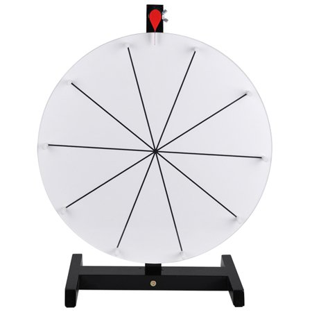 16'' White Tabletop Spinning Prize Wheel 10 Slots with Color Dry Erase
