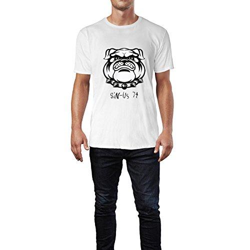 SINUS ART® Bulldogge mit Nietenhalsband Herren T-Shirts in Weiss Fun Shirt mit tollen Aufdruck