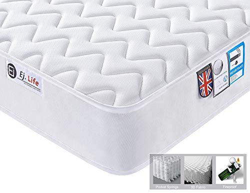 3FT Single 3D Breathable Fabric Mattress with Pocket Springs and Memory Foam -...