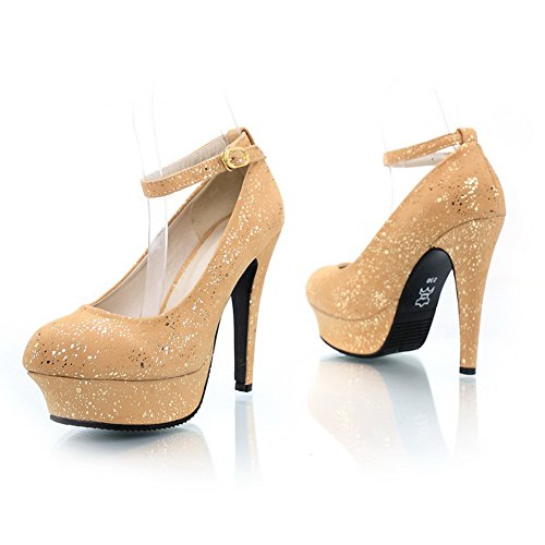 VogueZone009 Womens Closed Round Toe High Heel Stiletto Nubuck Leather Solid Pumps, Yellow, 2.5 UK