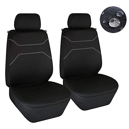 Elantrip Waterproof Front Seat Covers Water Resistant Bucket Seat Protector Universal Fit Airbag Compatible for Cars SUV Truck, Black 2 PC (Cover Truck Toyota Seat)