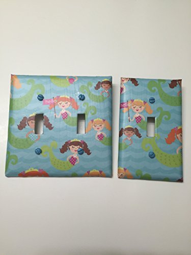 Mermaids on Blue, bedroom, bathroom, light plate cover,light switch plate, outlet cover, outlet plate, home decor, wall art