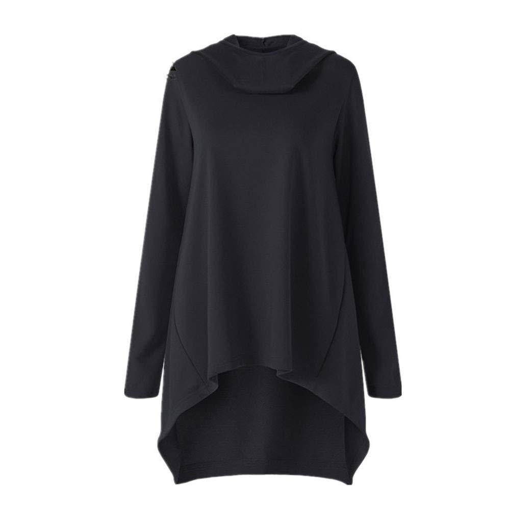 FeiBeauty Women's Solid Color Langarm-Diagonal-Reiß verschluss Mode mit Kapuze Pullover Herbst und Winter Kapuzen-Sweatshirt Mode-Shirt Damenjacke