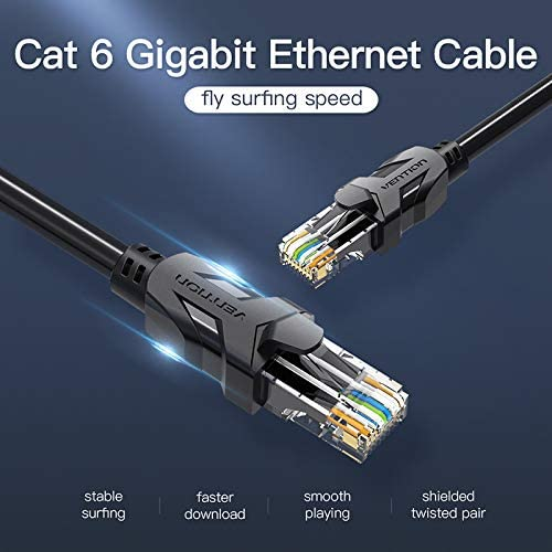 Computer Cables Vention rj45 Connector High Speed UTP CAT 6 Ethernet Cable Flat Yoton Network Cable RJ45 Patch LAN Cord for PC Laptop Router Cable Length: 2m, Color: Round Cable