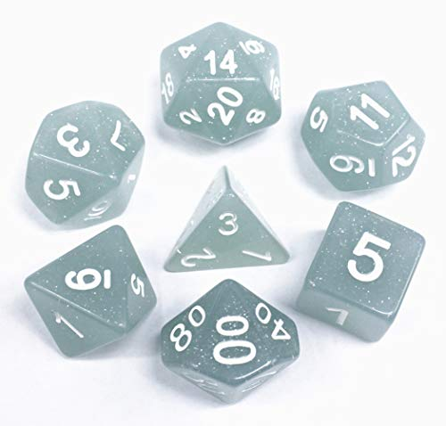 (Polyhedral DND Dice Sets for Dungeons and Dragons(D&D) Role Playing Game(RPG),MTG,Pathfinder,Table Game Gray-Blue Translucent Sparkle Dice)