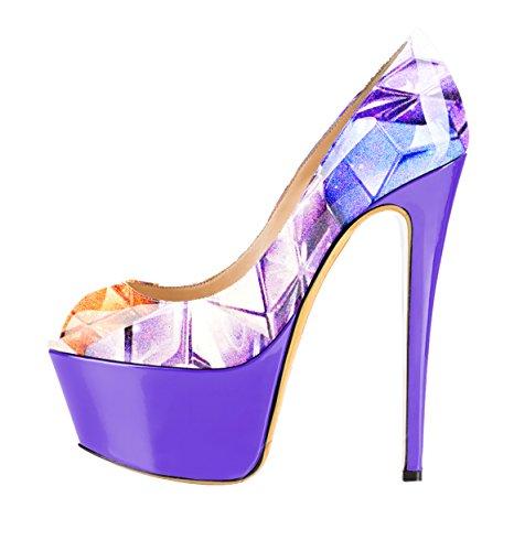 Guoar - Zapatos con tacón Mujer Bunt und Lila