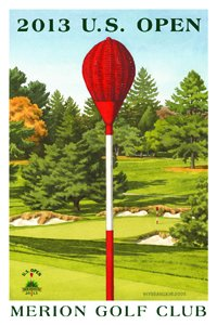 Signed 2013 U.S. Open Merion Mini-Poster by Lee Wybranski - Wicker (Golf Club Collectibles)