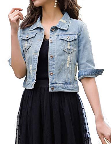 Fundu Women's Light Blue Cut Out Sweet Summer Denim Lapel 3/4 Sleeve Jacket US ()