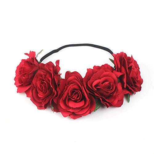 Hawaiian Floral Bands - Auranso Hawaiian Ladies Tropical Rose Flower Elastic Headband Floral Garland Stretch Hair Band Bride Wedding Party Headwear Red