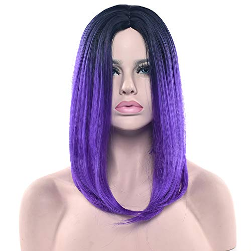 11 Colors Black to Purple Ombre Color Synthetic Hair Bob Wig for Women Straight Hair Costume Cosplay Wigs Hair Accessories ()