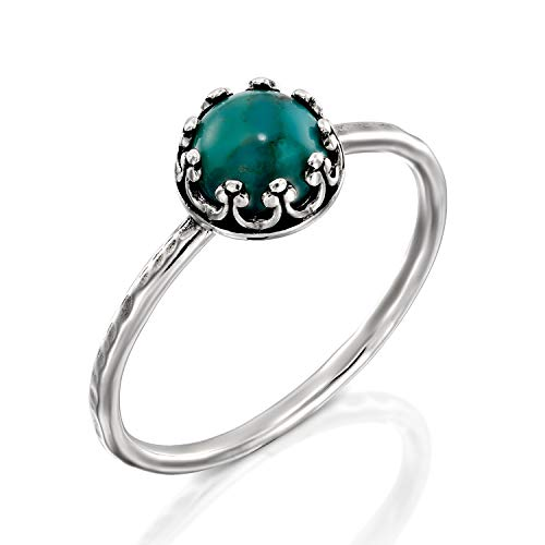 Antique Style Hammered 925 Sterling Silver Compressed Turquoise Ring, Women's Size 6