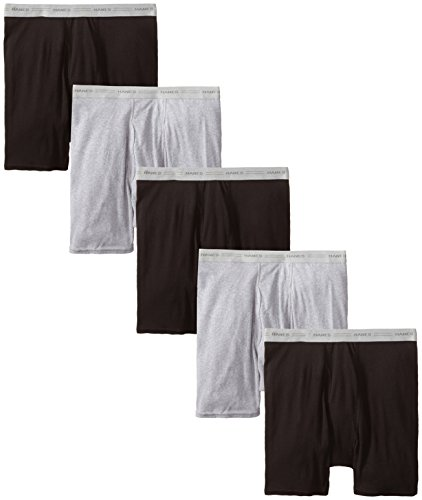 Comfort Boxer Shorts - Hanes Men's 5-Pack Boxer with ComfortFlex Waistband Brief, Black/Grey, X-Large