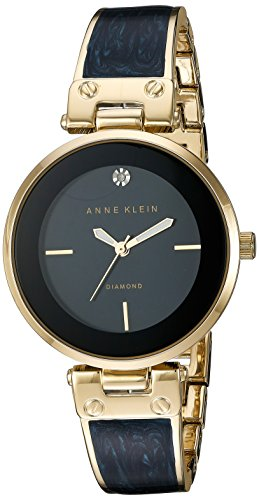 Anne Klein Women's AK/2512NVGB Diamond-Accented Gold-Tone and Navy Blue Marbleized Bangle Watch