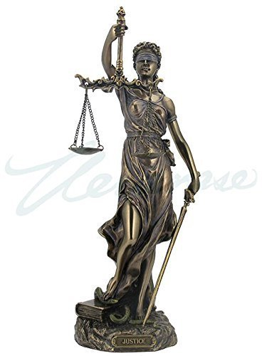 Cold Cast Bronze Cardinal Virtues Our Lady Of Justice Statue