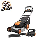 WORX WG960 20-inch 40V(5.0Ah) WG751 Cordless Lawn Mower and WG547.9 Power Share Cordless