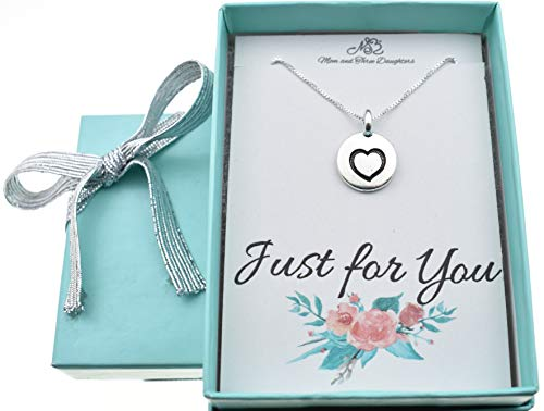 (Little girls, girls, teens or womans heart necklace in silver plated pewter on a 16