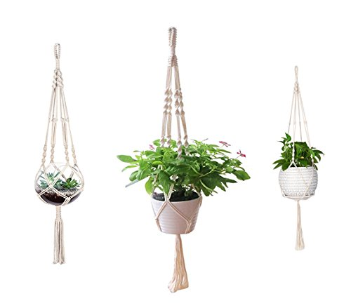 AOMGD 3 Pack Macrame Plant Hanger Indoor Outdoor Hanging Plant Holder Hanging Planter Stand Flower Pots for Decorations - Cotton Rope, 4 Legs, 3 Sizes by AOMGD