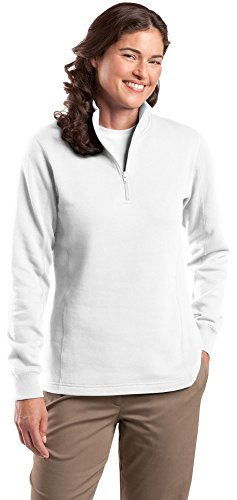 Sport-Tek Ladies 1/4-Zip Sweatshirt, XL, White - Sport Tek White Sweatshirt