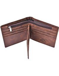 Mens Leather Bifold Wallet Rfid Men Slim Front Pocket Wallet Trifold