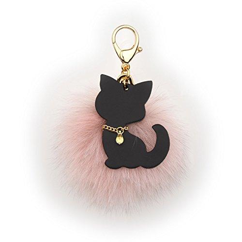 Richbud Fox Fur Ball Austrian Crystal Gold Keychain Pom Pom Keyring Handbag Purse Charm (Pink)]()