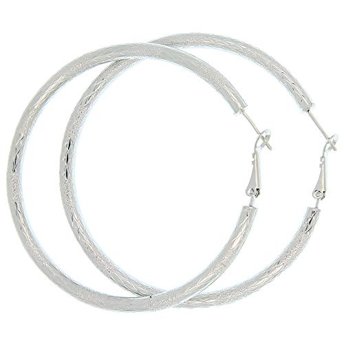 Sterling Silver Textured Round Hoop Earrings Stainless Steel Women Fashion Hypoallergenic Earrings Girls Stylish Jewellery