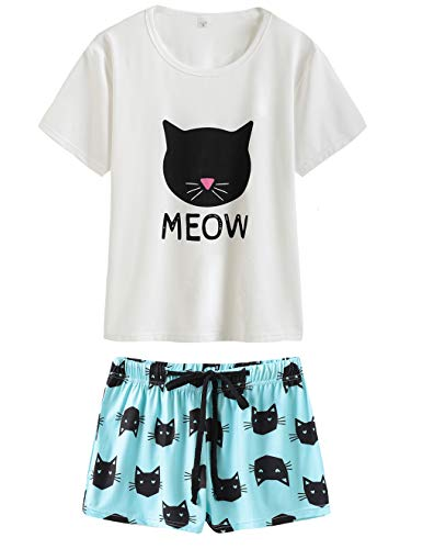 (VENTELAN Summer Pajamas for Women 2 Piece Cute Cat Sleepwear Pajama Sleep Set (X-Small(USA Size:0-2), White-Blue))